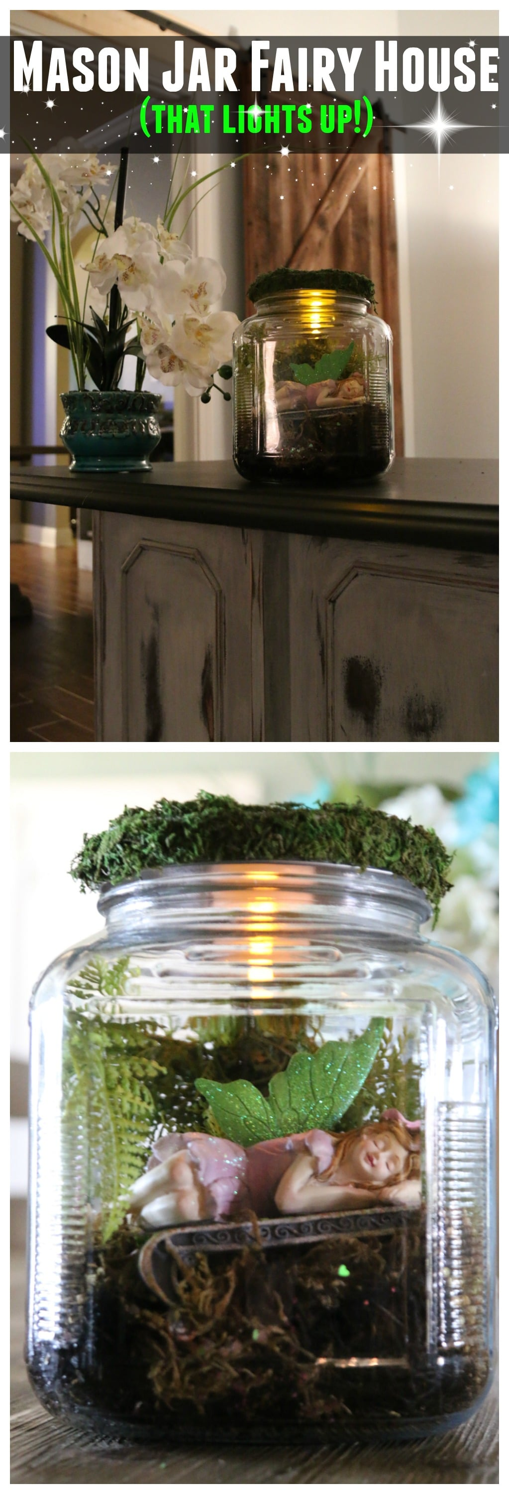 DIY Mason Jar Fairy house : adorable Fairy garden hidden away in a mason jar that can be used as a nightlight, decor, or put in the garden (and safe from rain!) , learn how to adopt a fairy for your garden or desk today