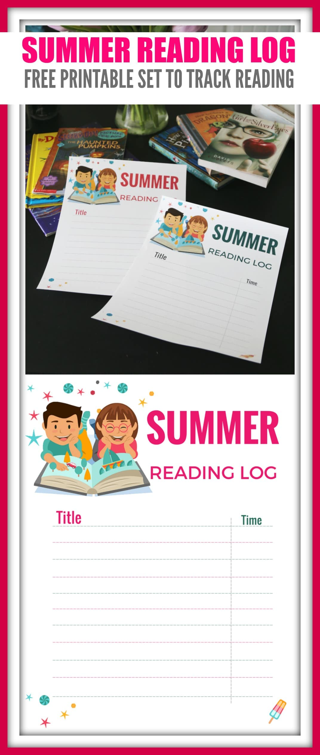 summer reading log  free printable