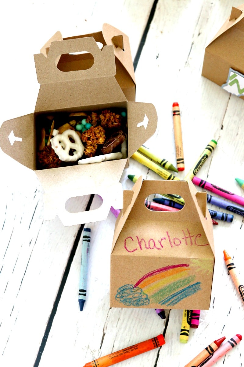 Trail Mix Travelers : Create Custom Trail Mix tucked inside Gable Boxes for the perfect no mess travel box that doubles to decorate during road time. Travel Hack
