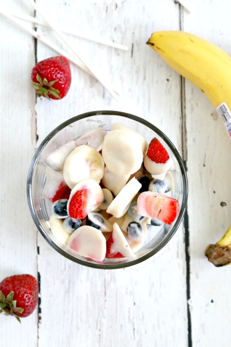 Frozen Yogurt Breakfast Fruit Bites: Make Fresh Yogurt bites for a fun breakfast or snack on the go- Great for Back to School mornings
