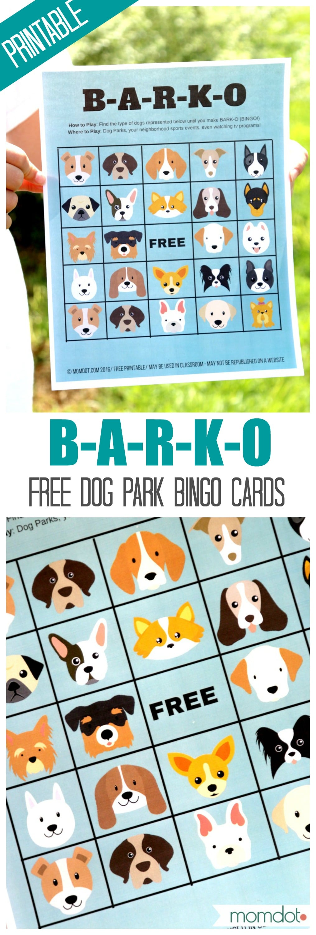 B-A-R-K-O : FREE Printable for DOG BINGO! Find the right breeds at the dog park, neighborhood or even while watching TV and be the first to yell BARKO! Kids will adore marking off each dog they find!