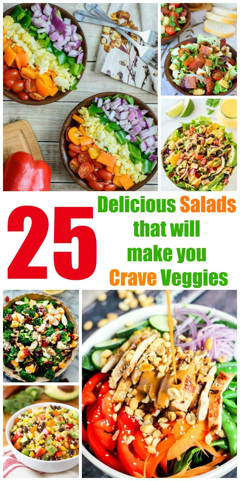 25 Delicious Salads (Salad Recipes) that will make you Crave Veggies