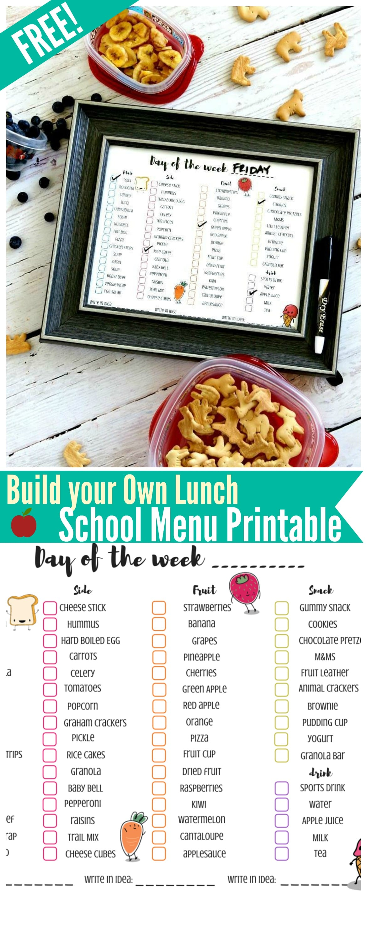 Free School Lunch Menu Printable: Easily put in a frame or laminate for usage over and over- encourages freedom and choices. Kids checkmark what they would like in their lunch! FREE PRINTABLE MENU