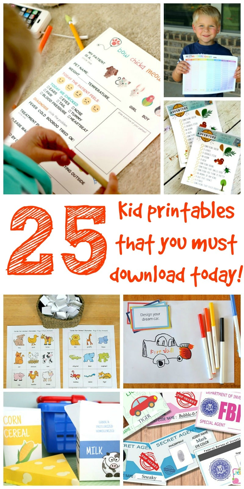 25 Kid Printables that you Must Download today, Kid Printable Activities, Pretend Play, Preschool Fun! Top 25 curated so you can download and get started