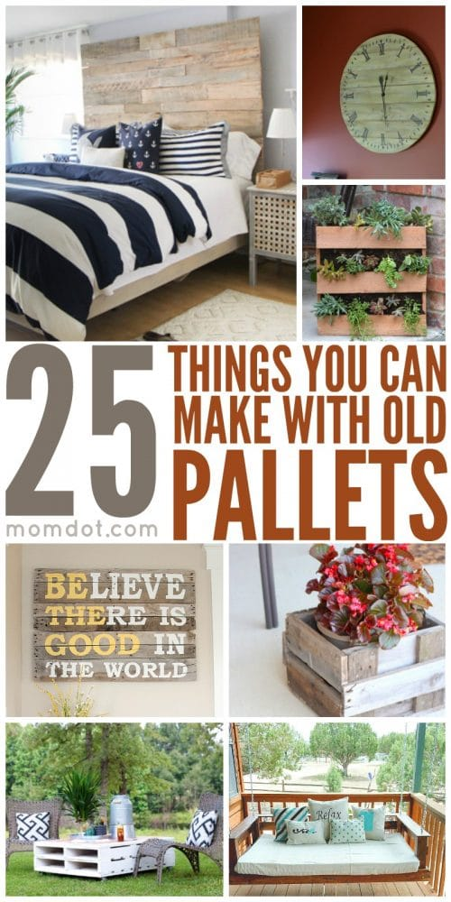 25 things you can make with old pallets momdot. Black Bedroom Furniture Sets. Home Design Ideas