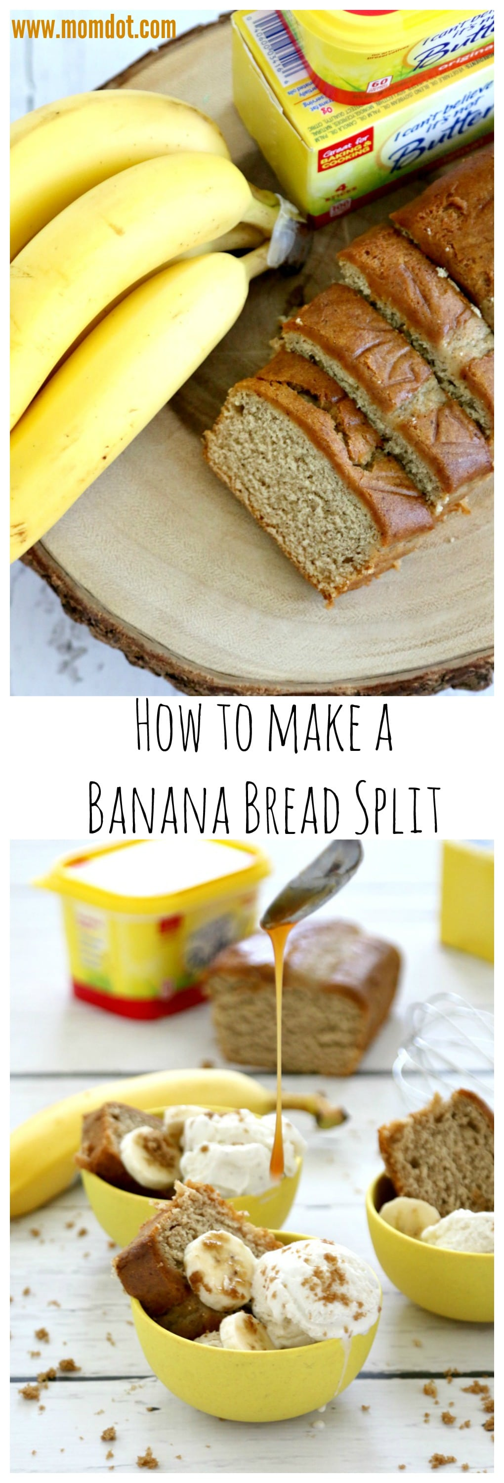 Banana Bread Split Afternoon Snack - great recipe to use leftover banana bread and form into a filling and fun afternoon dessert and snack recipe