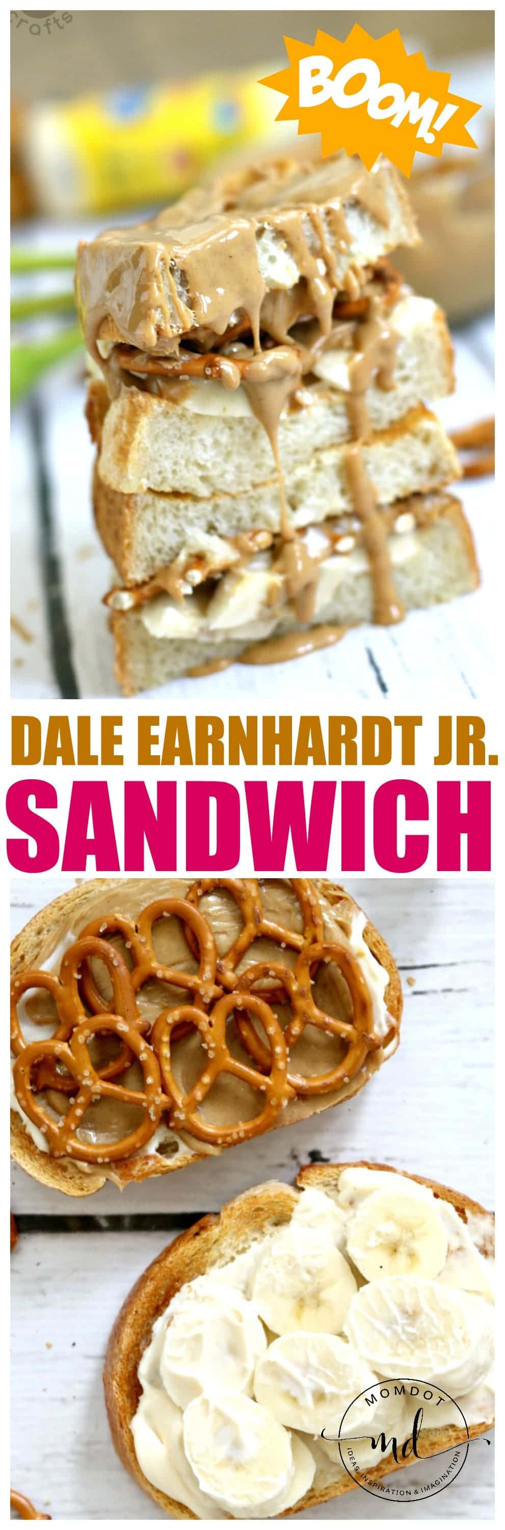 Dale Earnhardt Jr Sandwich, a peanut butter, banana and pretzel masterpiece that will up your lunch game
