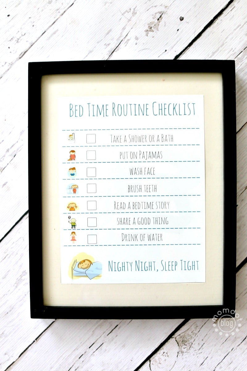 Bedtime Routine Free Printable Checklist, add in a frame with a dry erase marker to use nightly and keep kids on task, great for back to school too!