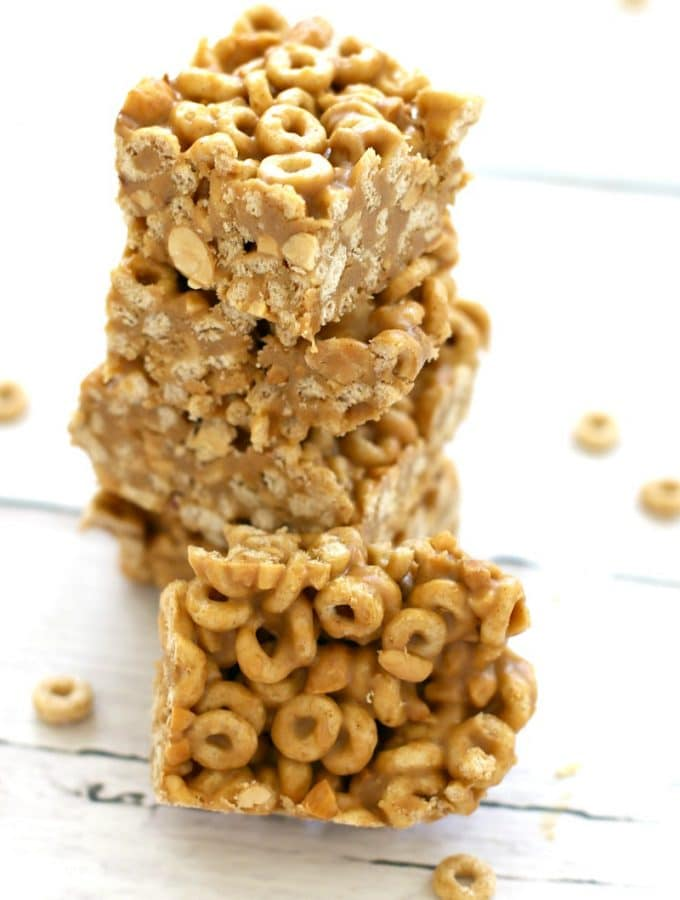 Peanut Butter & Honey Cheerio Bars , perfect back to school on the go breakfast or after school snack