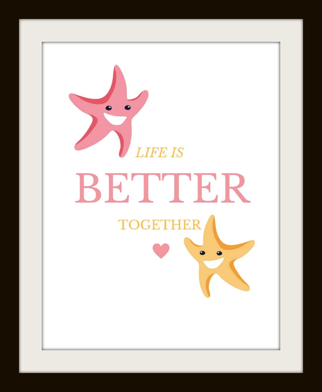 Free Nursery Printable Set of 4: Set of Whimsical Under the Sea animals with family value statements, look adorable in nursery, size 8x10 frames and PDF download