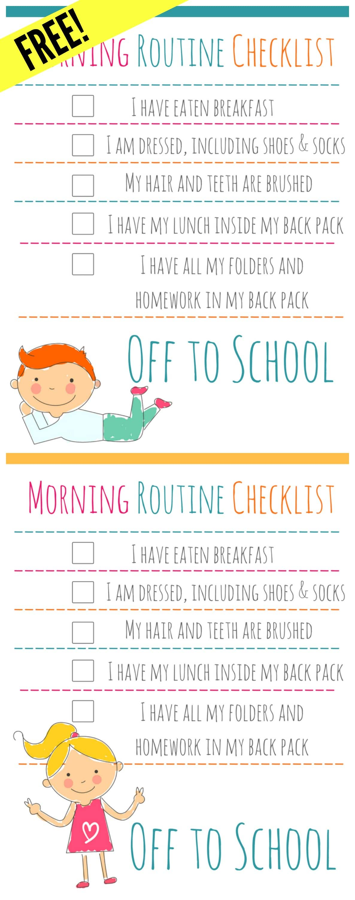 FREE MORNING ROUTINE CHECKLIST : Free Printable, download and laminate or add to a frame to keep kids organized and on task in the morning- two color and graphic schemes, totally adorable and free printable
