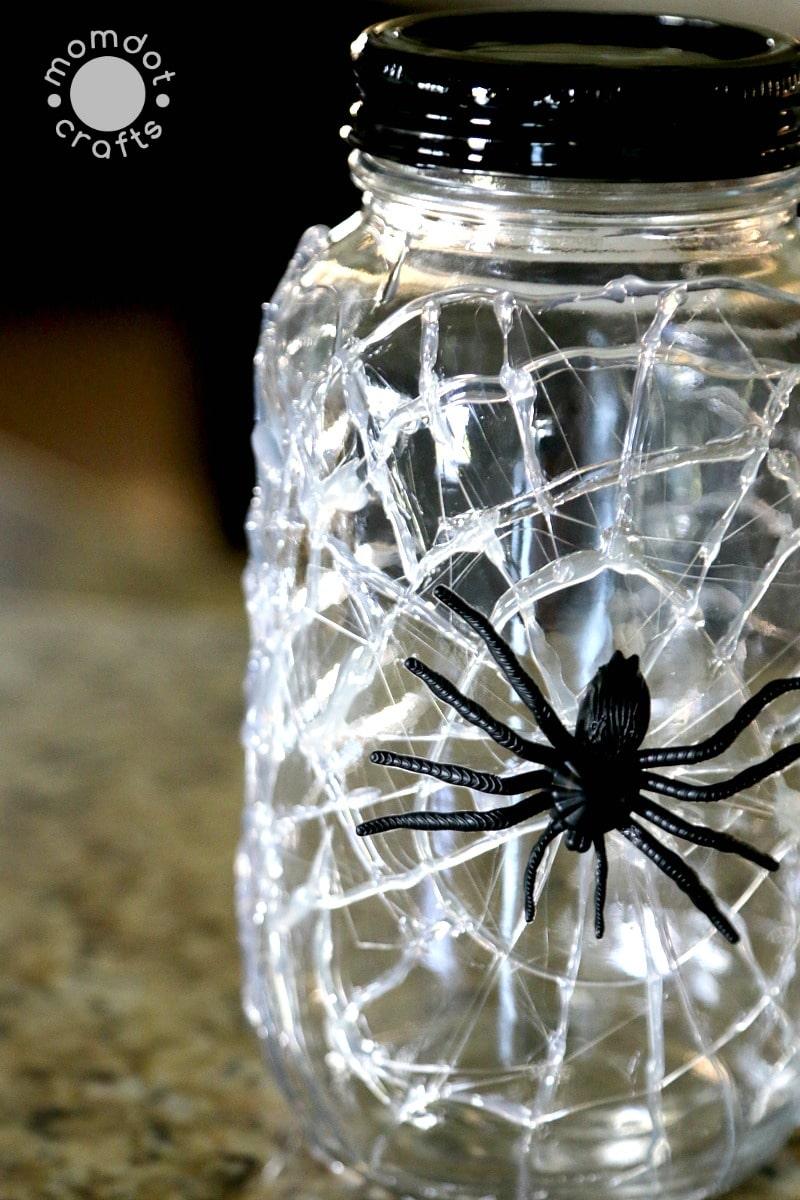 Halloween Mason Jar Craft DIY Idea: Spooky Mason Jar decor done in 5 minutes or less, Creepy Spider web mason jars