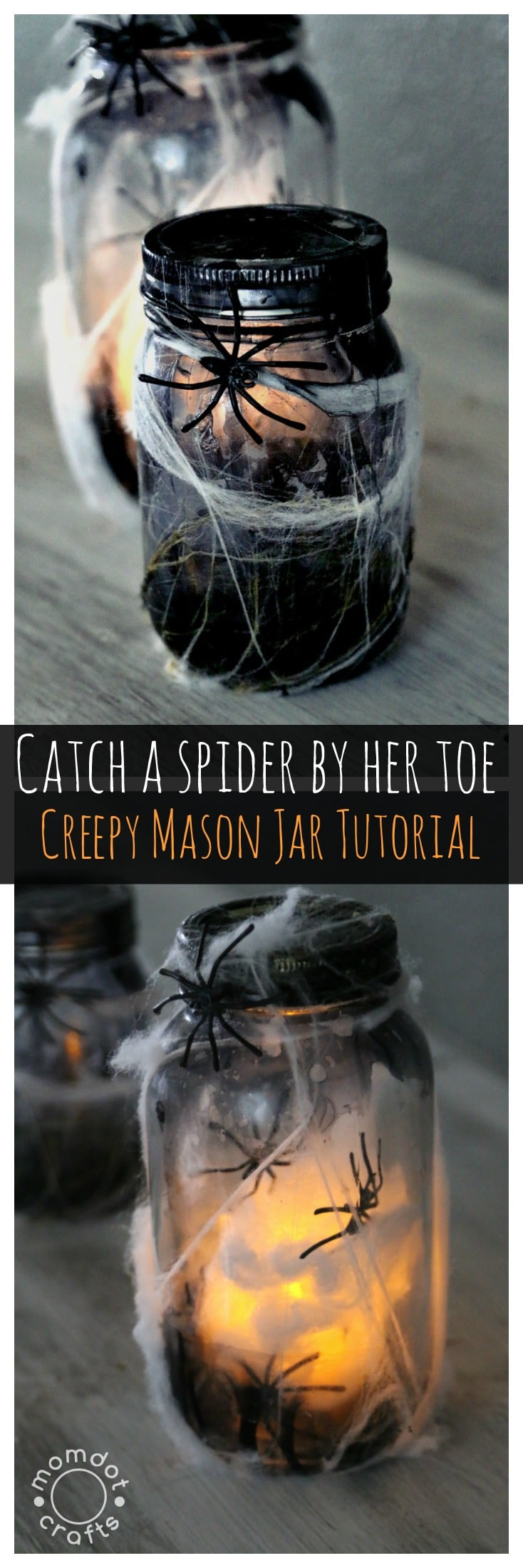 Halloween Mason Jar Crafts: Tutorial on how to make a creepy light up spider jar for halloween decor, center pieces or scary bathroom night light