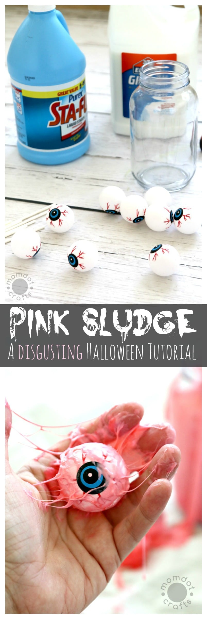 Pink Sludge: DIY Disgusting Eyeball Slime to help you make disgusting decor, gross out your friends and kids, Halloween Tutorial you must do! Inspired by Ghostbusters Slime River