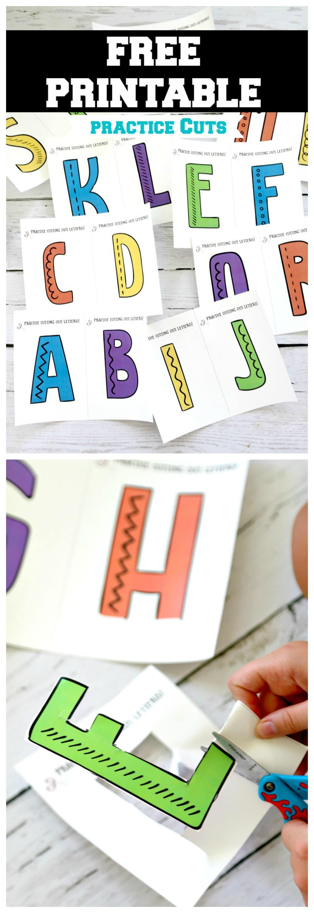 Scissor Skills : FREE PRINTABLE, practice preschool, Kindergarten and beyond scissor fine motor skills by cutting out Alphabet. Can be full page for young kids or many to a page for detailed cutting and older kids - PDF File and may be used in classroom