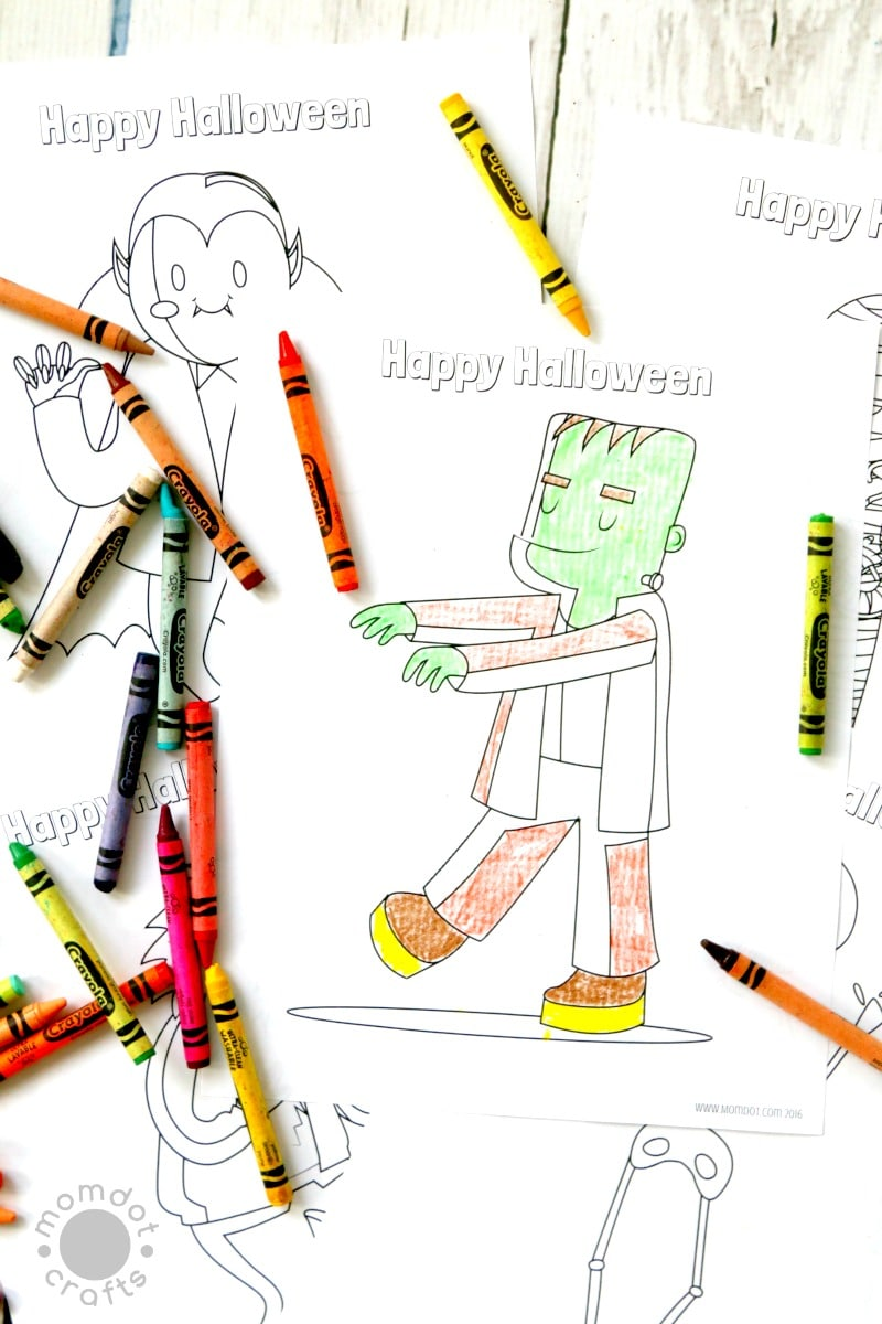 Free Halloween coloring pages (printables) for kids, adorable Mummy, vampire, mummy, skeleton and more! 6 sheets in all, just download and color for instant halloween fun, can be used in classroom free