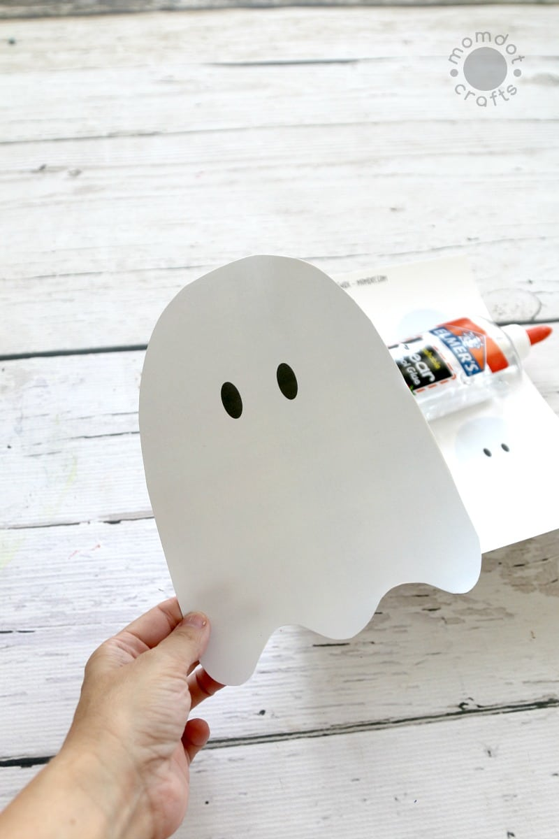 cotton ball ghosts with free downloadable ghost template