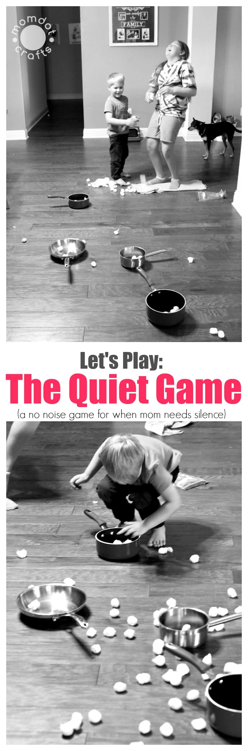 Let's Play The Quiet Game : Simple indoor game with household items where the only noise is laughter, simple child game for parties, at home fun- DIY kids game