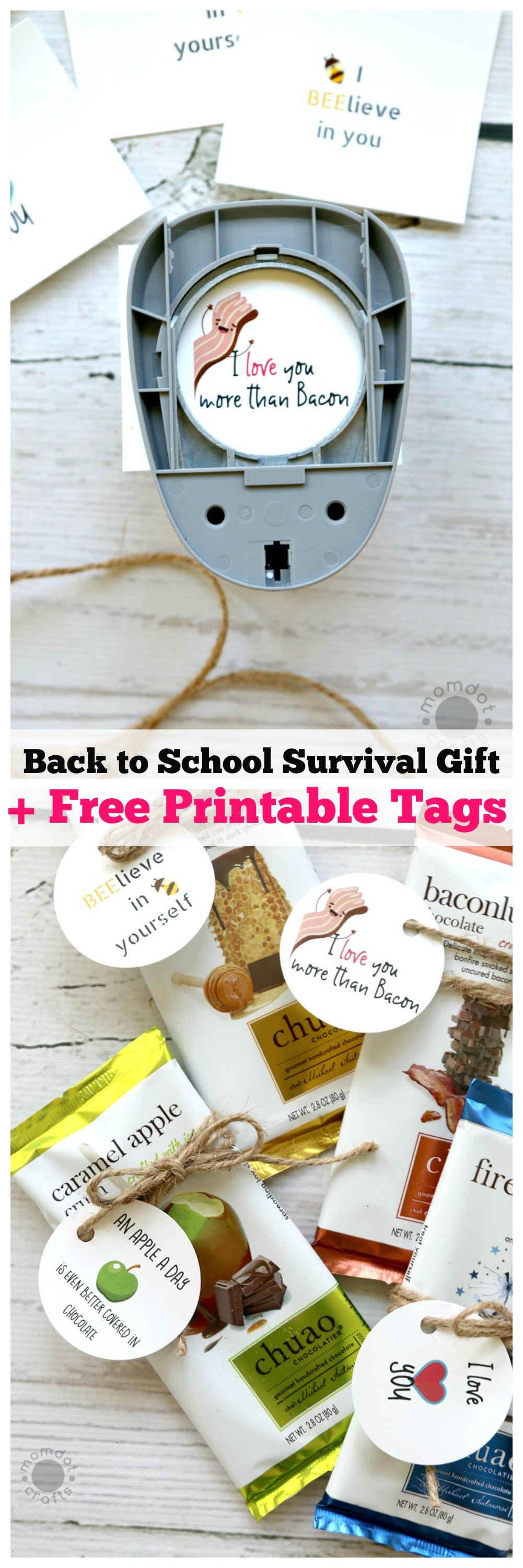 Back to School Survival Gifts for teachers and kids plus FREE PRINTABLE TAGS - FREE Chocolate Bar Tag printables : Treat someone special with a unique candy bar and tag it with this free printable, fun inspiration for parents, teachers, and gifting