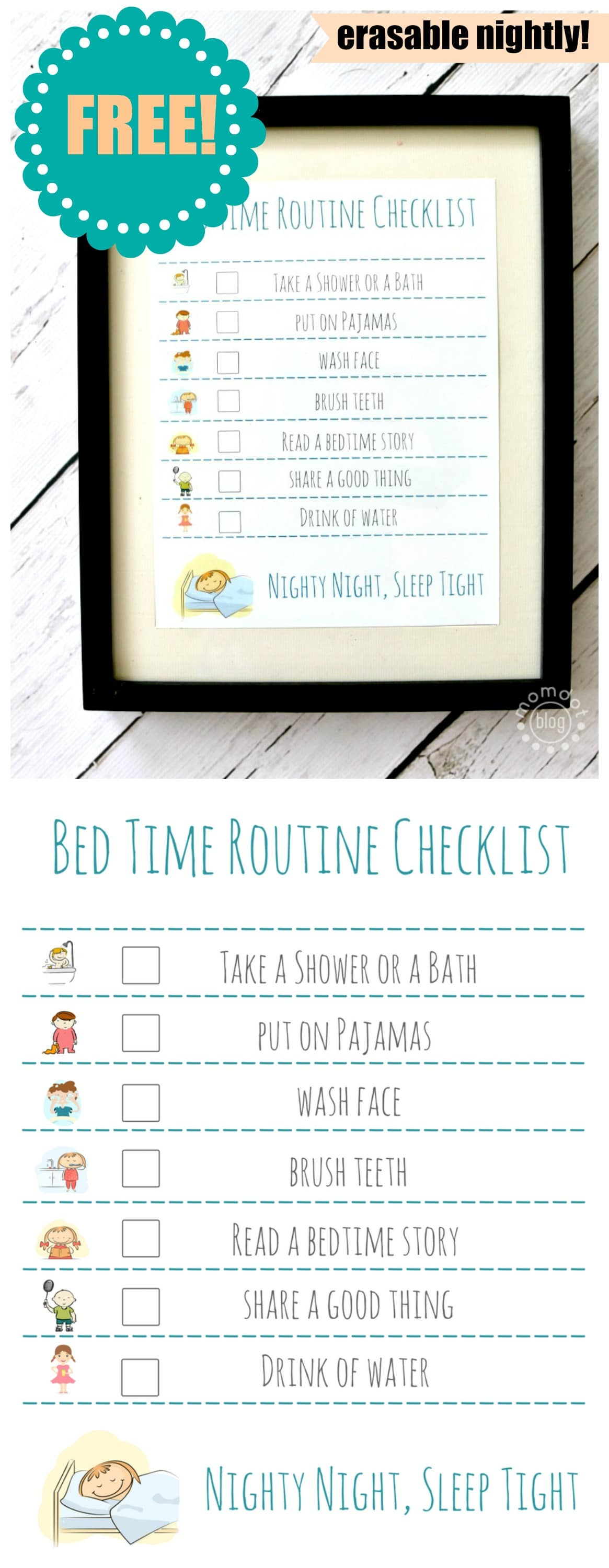 Bedtime Routine FREE Printable : Erase nightly to keep on task for Bed time, makes getting ready for bed EASY for parents and FUN for kids - simple print free printable and put in frame, dry erase marker makes it reusuable