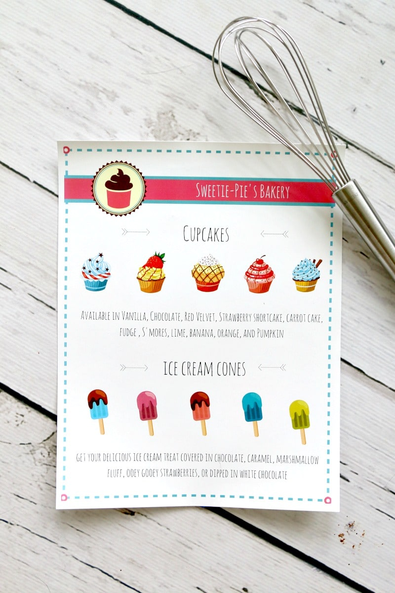 bakery and ice cream shoppe pretend play menu  printable