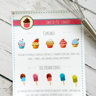 Bakery and Ice Cream Shoppe pretend play menu (Printable)