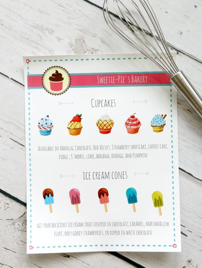 Bakery and Ice Cream Shoppe pretend play menu (Printable)