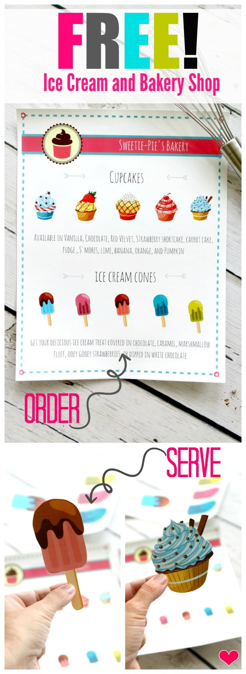 Free Bakery Ice Cream Shop Menu for kids plus extra sheets to serve the order! Totally fun pretend play and encourage imagination, instant and free download
