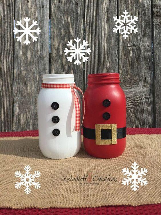 santa clause and snowman mason jars