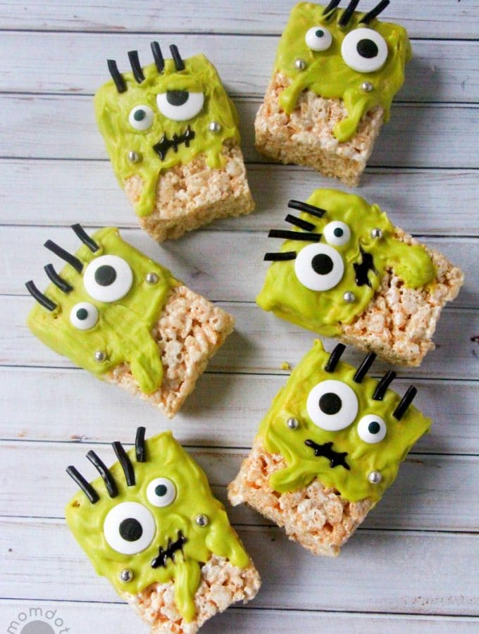 Frankenstein Rice Krispie treat recipe - a Halloween Holiday Rice Krispie Monster Recipe that is FUN and HILARIOUS!