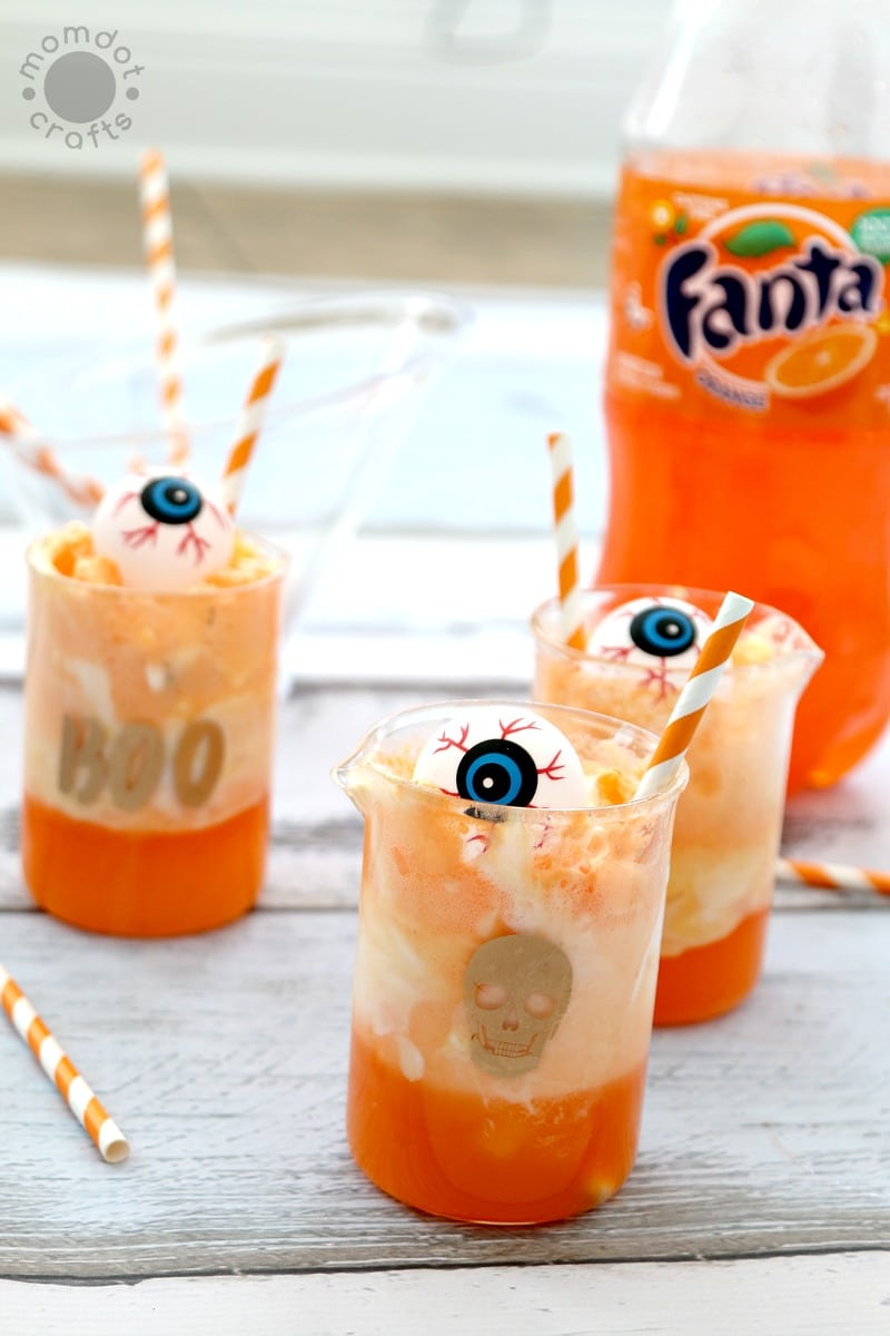 Eyeball Punch: Halloween Party Drink - Kid Friendly and Non-Alcoholic drink served in beakers for a giggly good time
