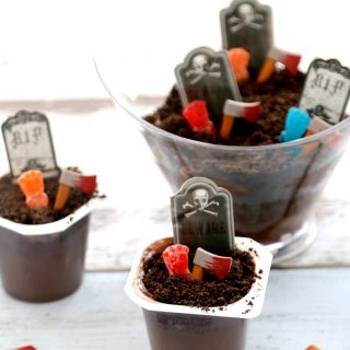 Cemetery Dirt Cups with Candy Zombies; Halloween Party Idea