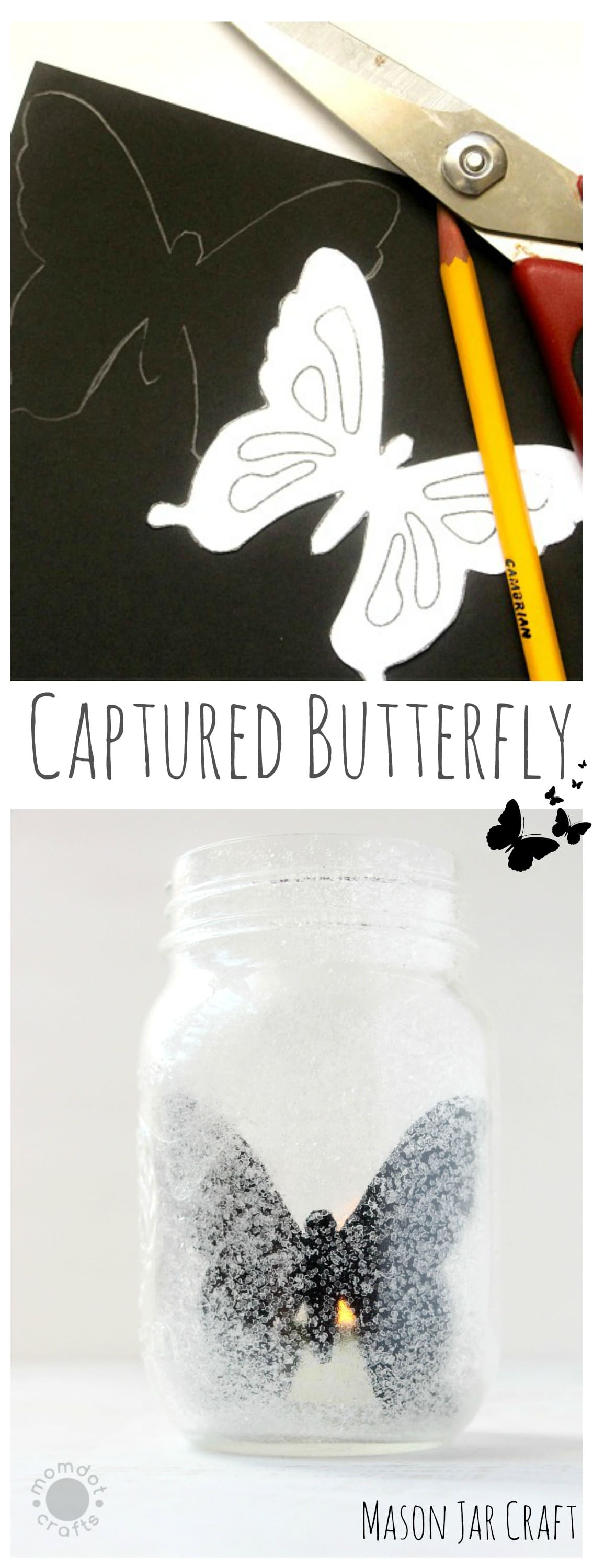 """Captured Butterfly : Mason Jar Craft Idea - Enjoy a Butterfly year round and the flickering light makes it seem """"alive""""! Mason Jar tuturial"""