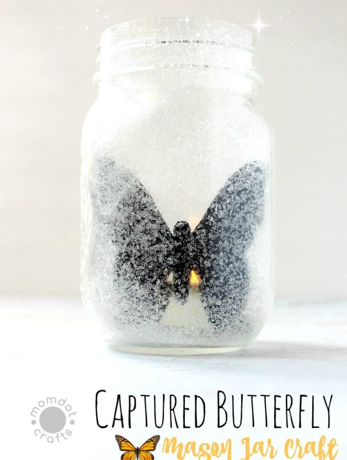 Captured Butterfly Mason Jar with Glitter Sparkles Painted on