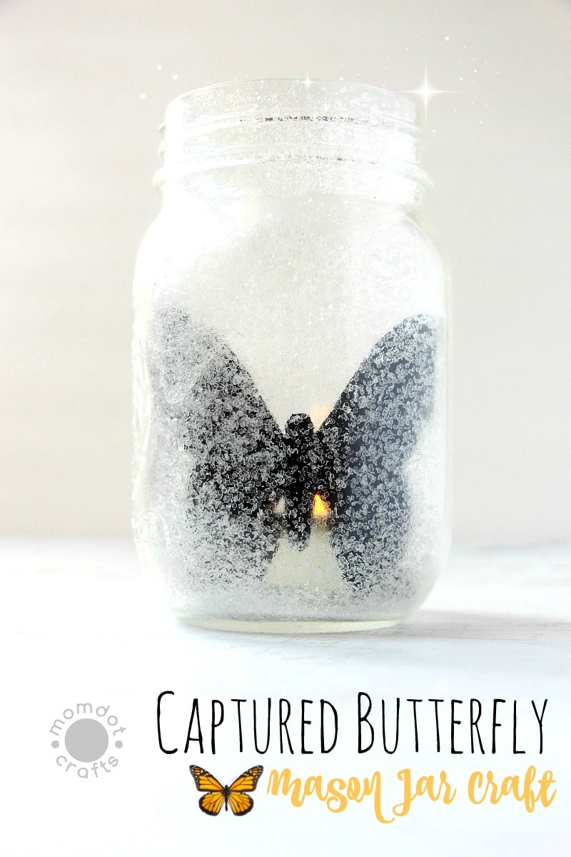 "Captured Butterfly : Mason Jar Craft Idea - Enjoy a Butterfly year round and the flickering light makes it seem ""alive""! Mason Jar tuturial"