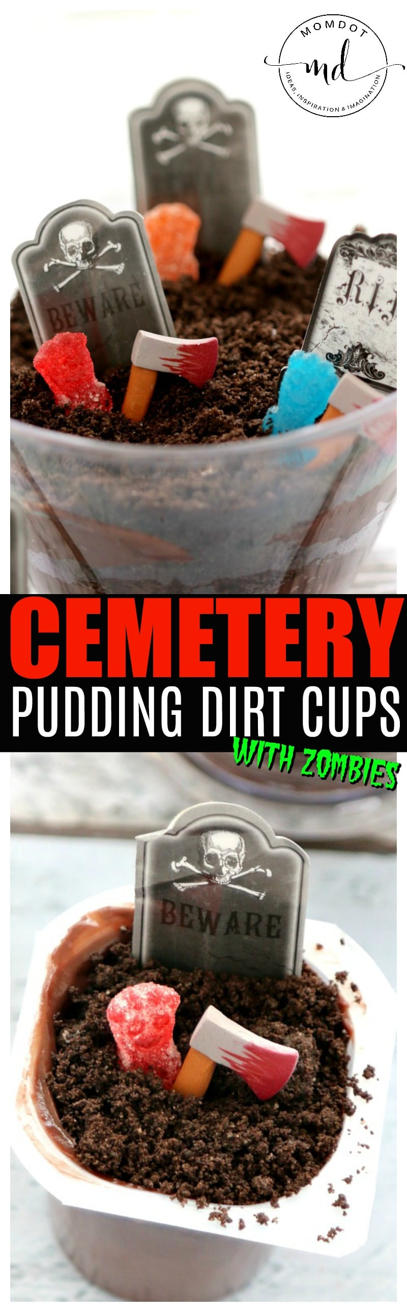 Cemetery Dirt Cups with Candy Zombies; Super Simple Halloween Dessert Party Idea