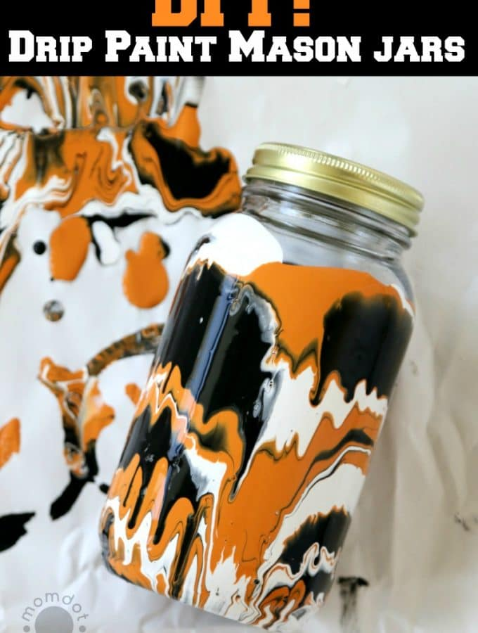 Halloween Drip Painted Mason Jars DIY