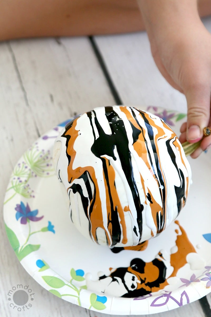 Drip Painting No Carve Pumpkin DIY for Halloween - Endless creativity and gorgeous!