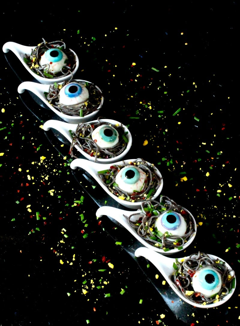 Black Bean Spaghetti Spoons with Deviled Eyes - Cringe worthy Halloween Night Dinner Recipe with realistic eyeballs (psst..eggs)