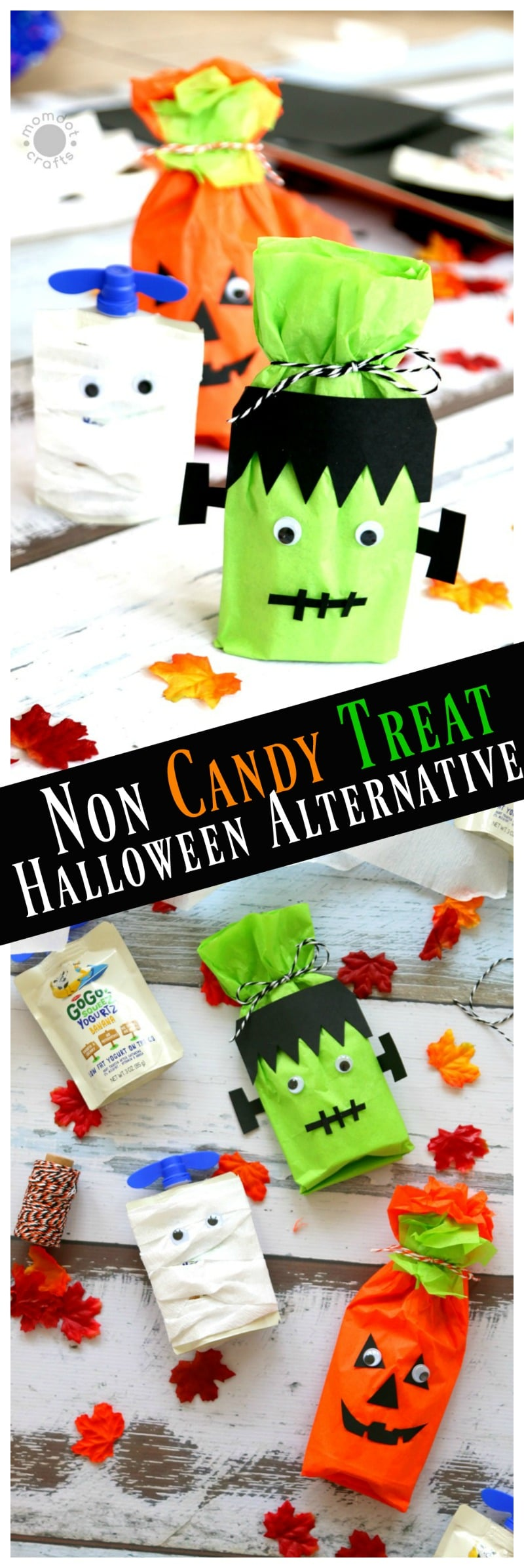 Non Candy Halloween Treat Ideas: Create Frankenstein, Pumpkin and Mummy with this No candy and Healthy Halloween Alternative while passing out candy- great classroom treat as well