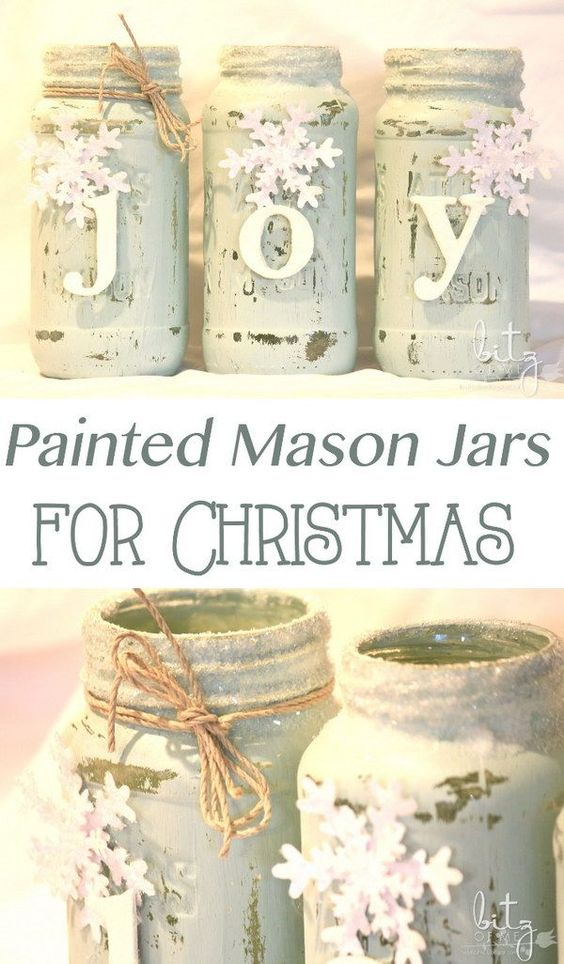 Painted Mason Jars for Christmas, Snowy and Shabby chic