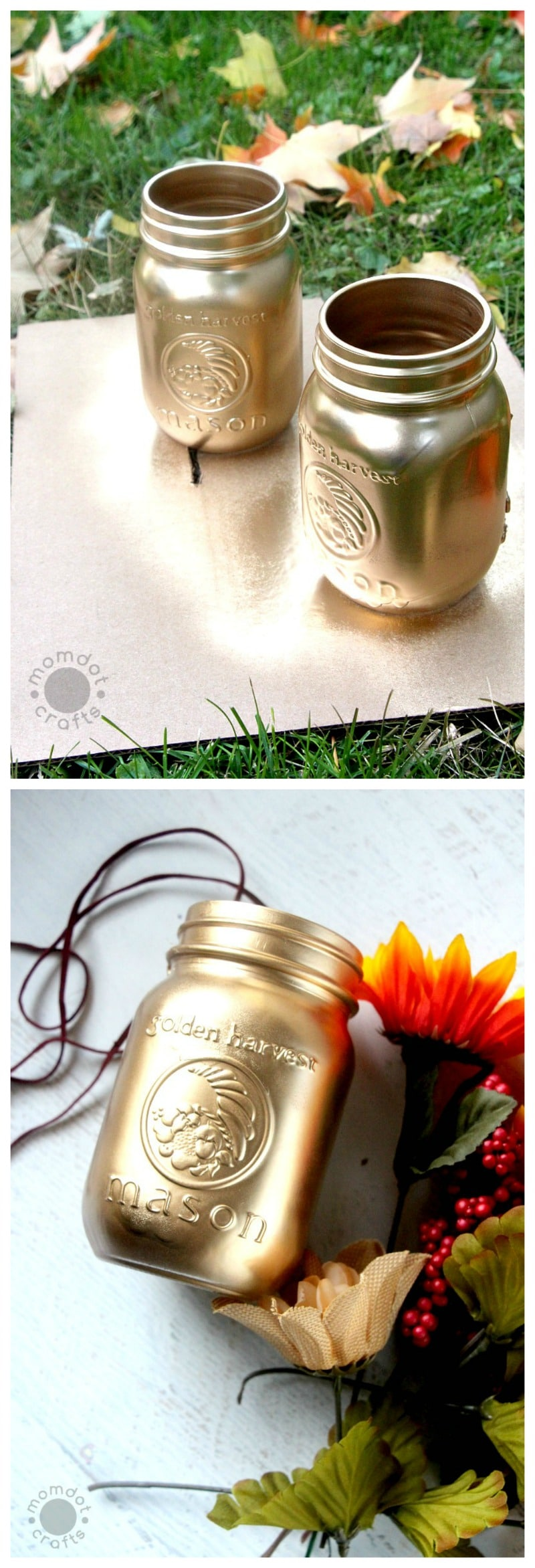 Gold painted mason jars - Fall decorating with mason jars, a 5 minute DIY for table centerpieces