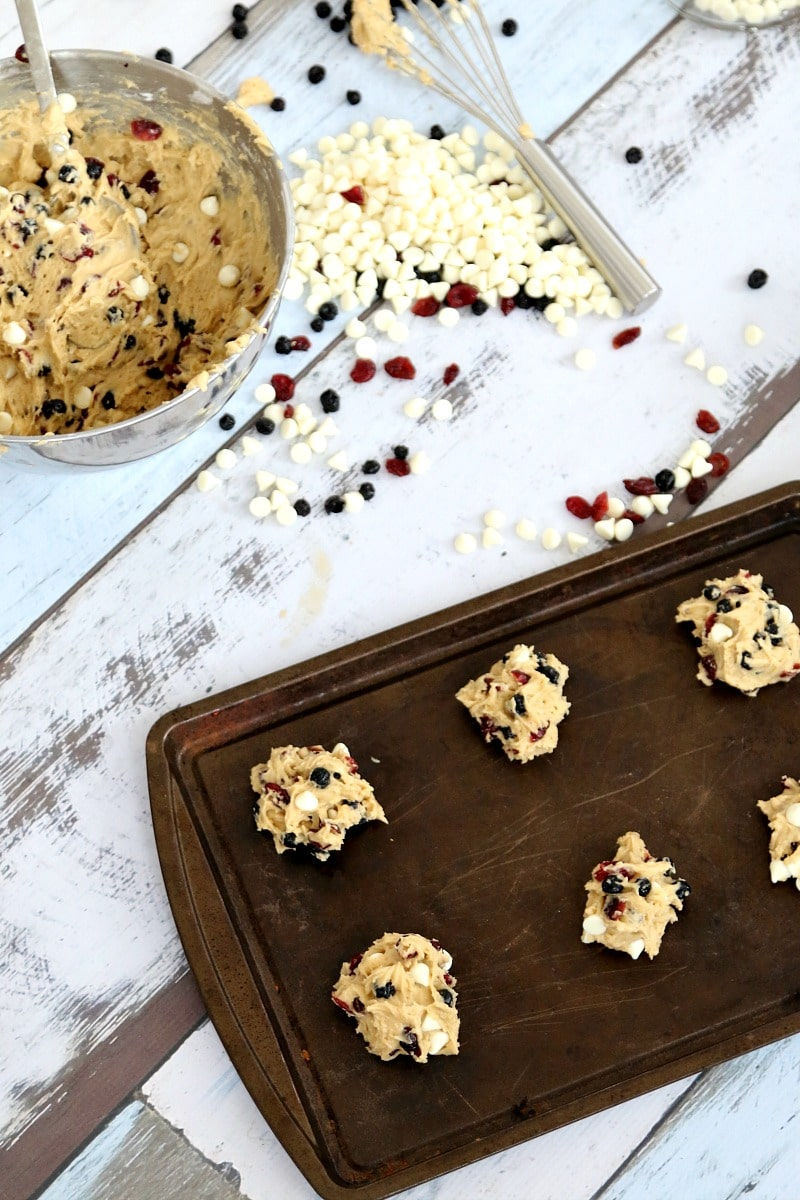 Cranberry, Blueberry & White Chocolate Cookie Recipe : Best Cookie Dough Recipe EVER for ALL your Christmas Cookies