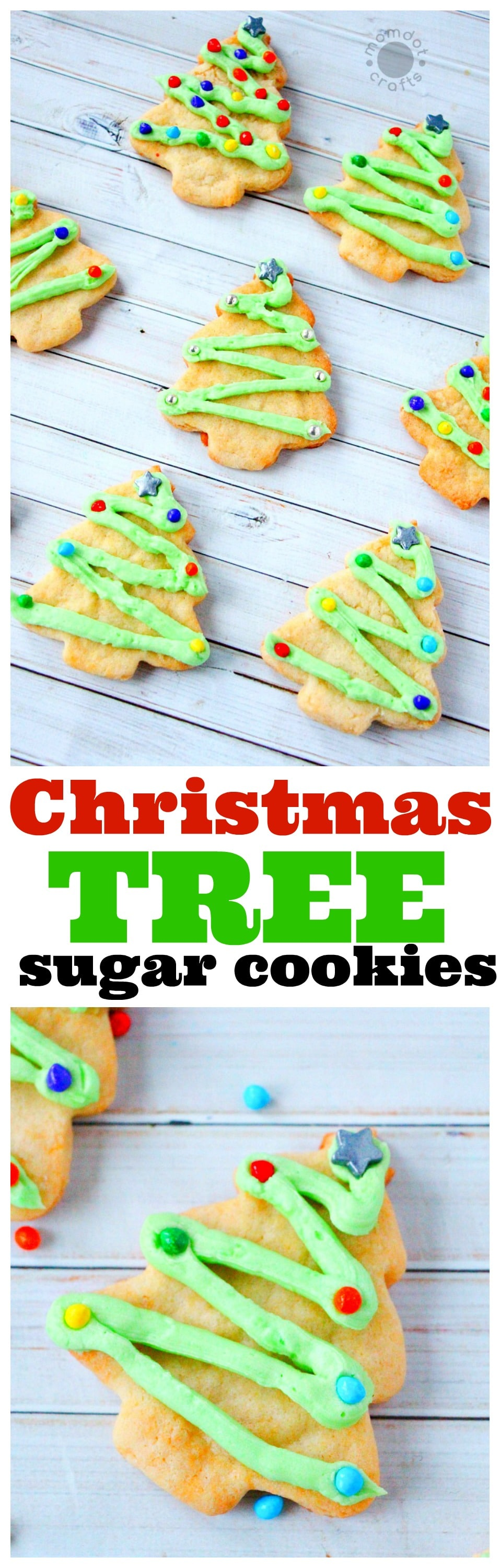 Christmas Tree Sugar Cookies, great sugar cookie recipe for adorable and easy to decorate Christmas cookies