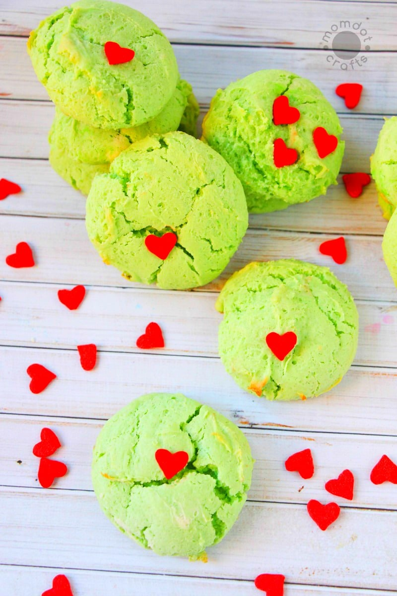 Grinch Cookie Recipe, 3 sizes too small heart cookies perfect for Christmas holiday that will delight kids and be a hit at your party