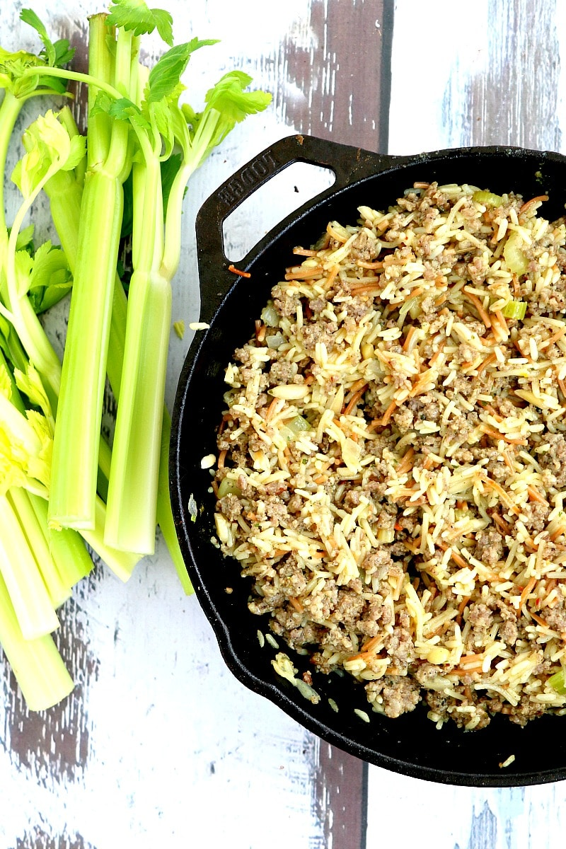 Sausage stuffing recipe with rice instead of bread- Delicious in every way. Simple, Savory and Full of Flavor