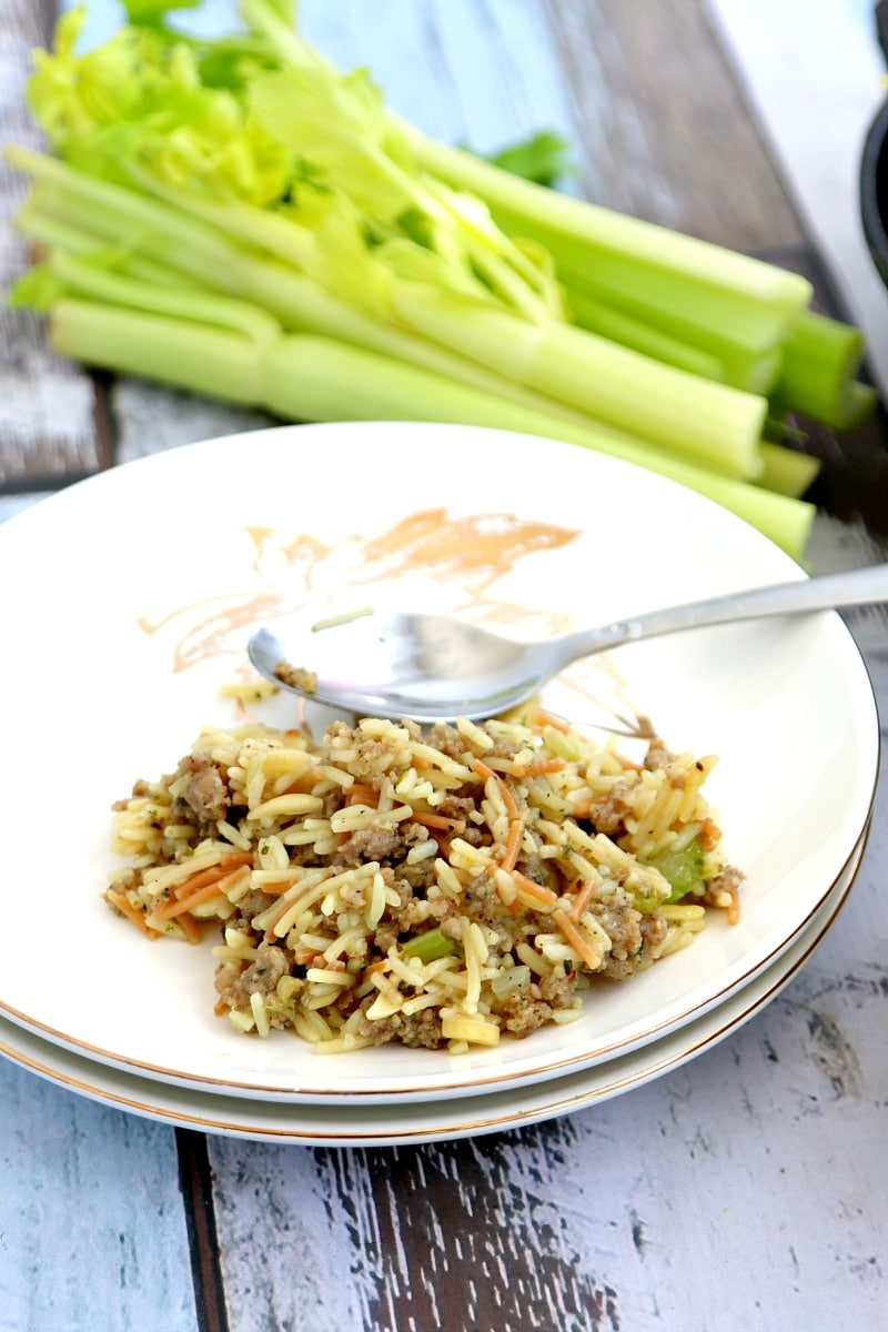 Easy Sausage stuffing recipe with rice instead of bread- Delicious in every way. Simple, Savory and Full of Flavor