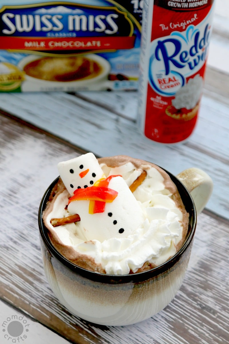 Snow Man Marshmallows in a Hot Chocolate Jacuzzi