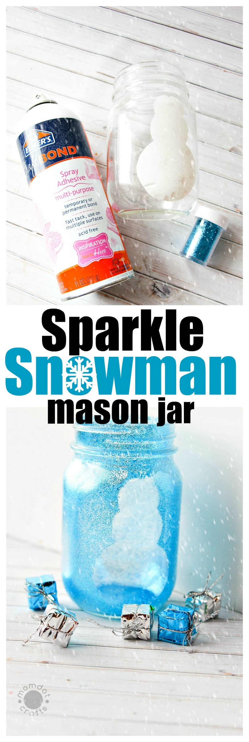 snowman mason jar crafts - sparkly like snow, create a mason jar centerpiece that is totally cute! Easy DIY instructions