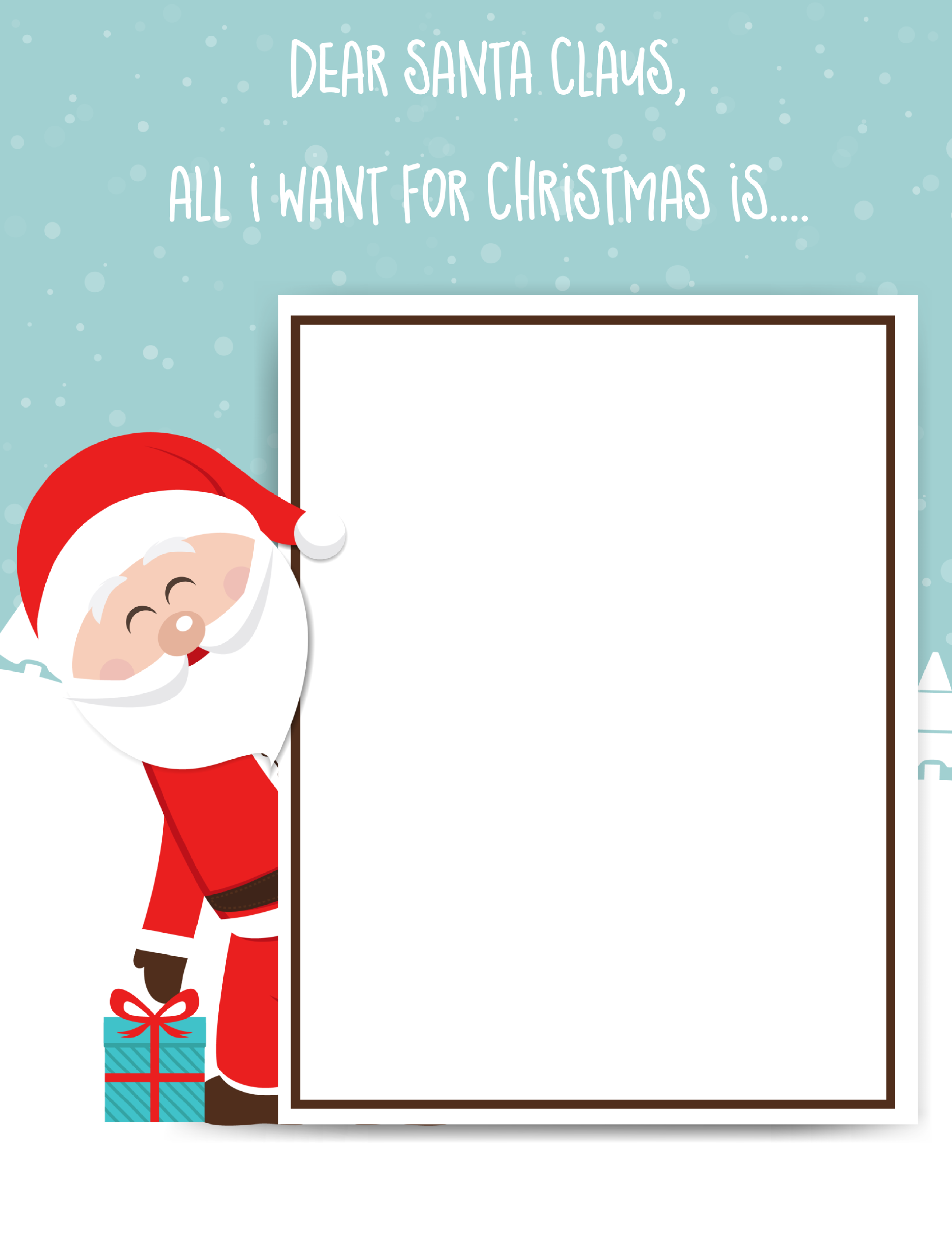 Santa Claus Letter Template for kids, draw a picture, write a letter, or create a list with this FREE Santa Claus Download